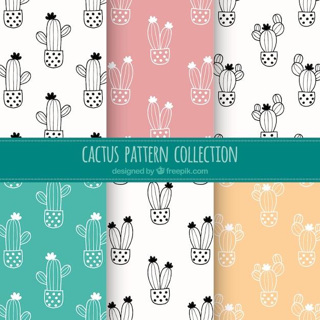Colección de patrones de cactus dibujados a mano vector gratuito