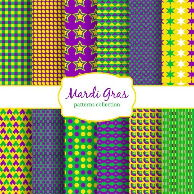 Colección de patrones de carnaval de mardi gras. verde y fondo, amarillo y decoración de moda. illusration del vector vector gratuito