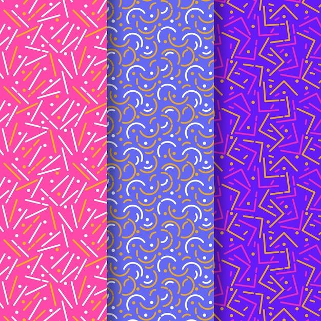 Colección de patrones de colores vivos de líneas redondeadas Vector Premium