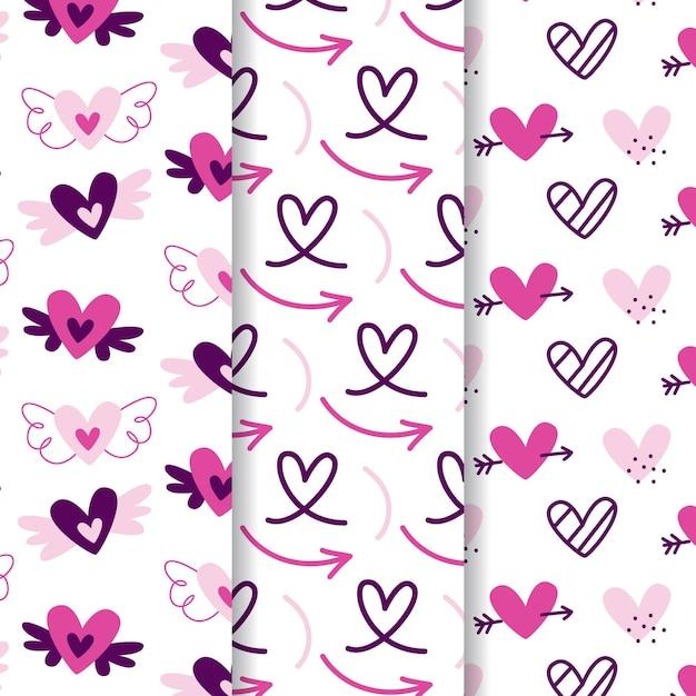 Colección de patrones de corazón dibujados a mano vector gratuito