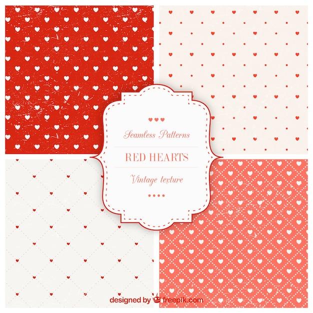 Colección de patrones de corazones rojos | Descargar Vectores gratis