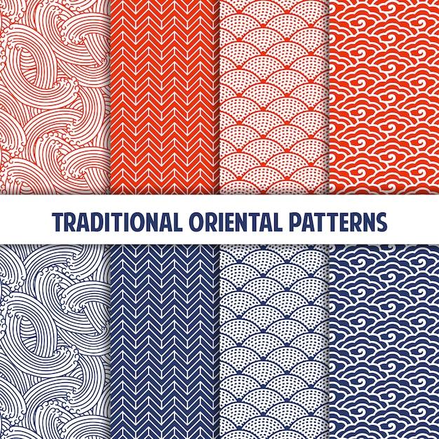 Colección de patrones sin costura japoneses tradicionales Vector Premium
