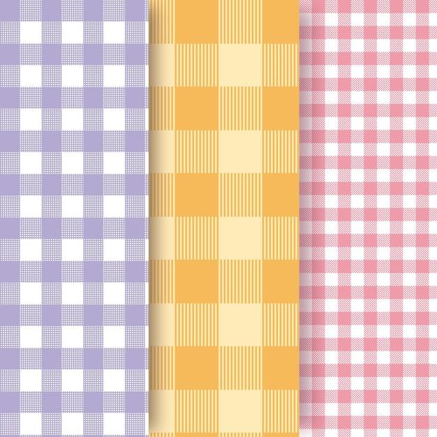 Colección de patrones de cuadros vichy pastel Vector Premium