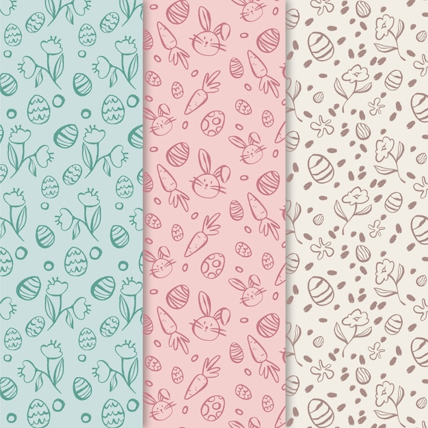 Colección de patrones de día de pascua dibujados a mano vector gratuito