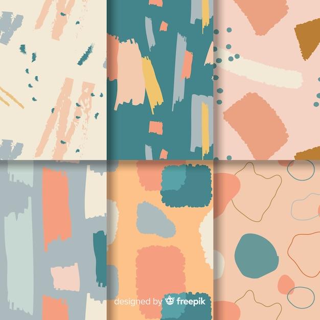 Colección de patrones dibujados a mano abstracta vector gratuito
