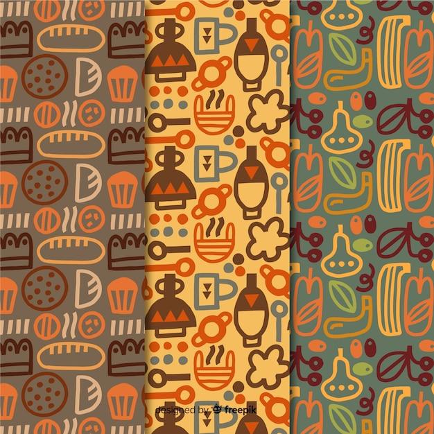 Colección de patrones dibujados a mano de diseño de panadería vector gratuito