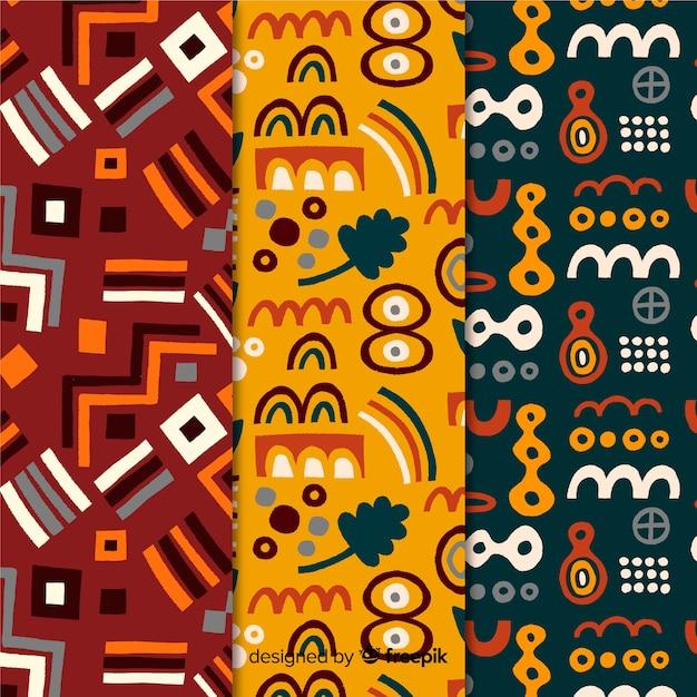 Colección de patrones dibujados a mano de formas abstractas geométricas vector gratuito