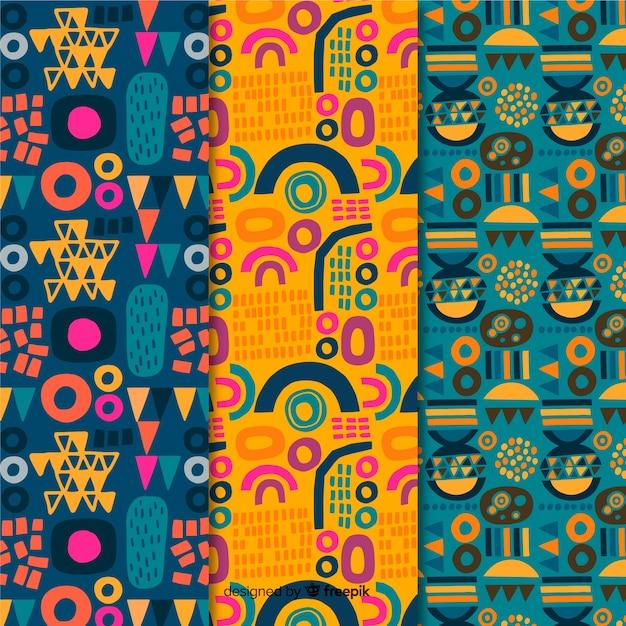 Colección de patrones dibujados a mano de idea abstracta de verano vector gratuito