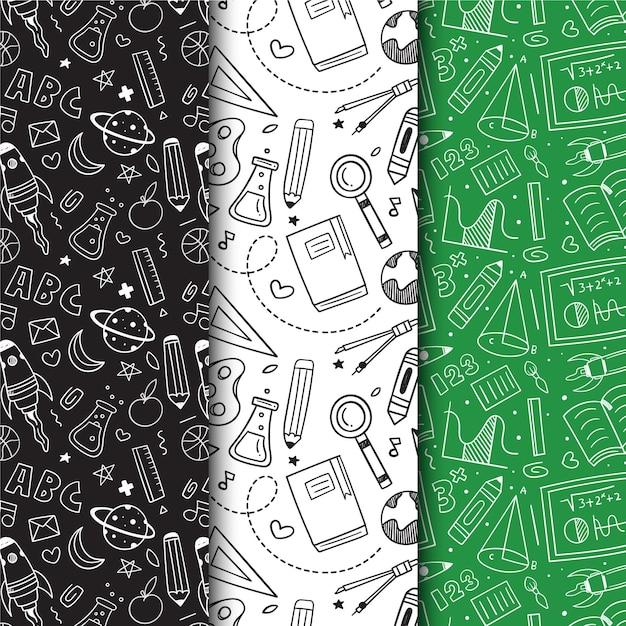 Colección de patrones dibujados a mano de regreso a la escuela vector gratuito