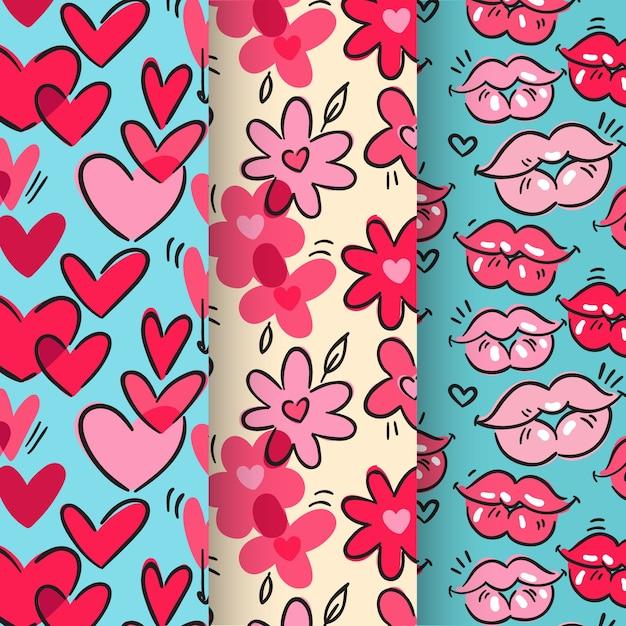 Colección de patrones dibujados a mano de san valentín vector gratuito