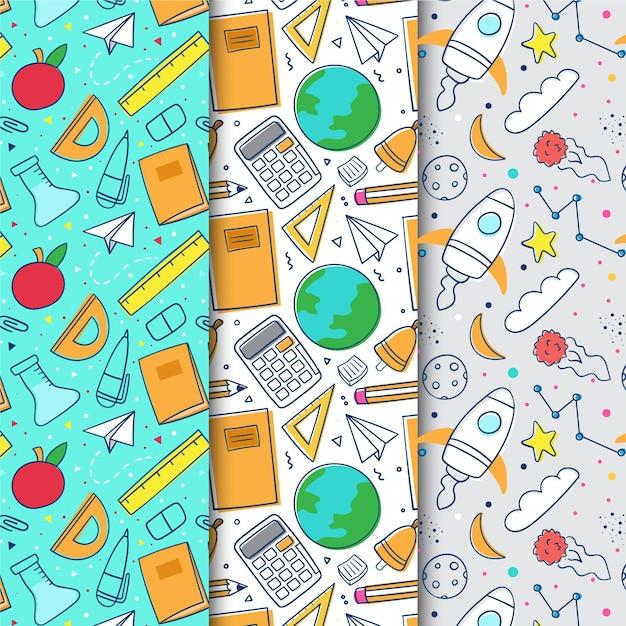 Colección de patrones de diseño plano de regreso a la escuela vector gratuito