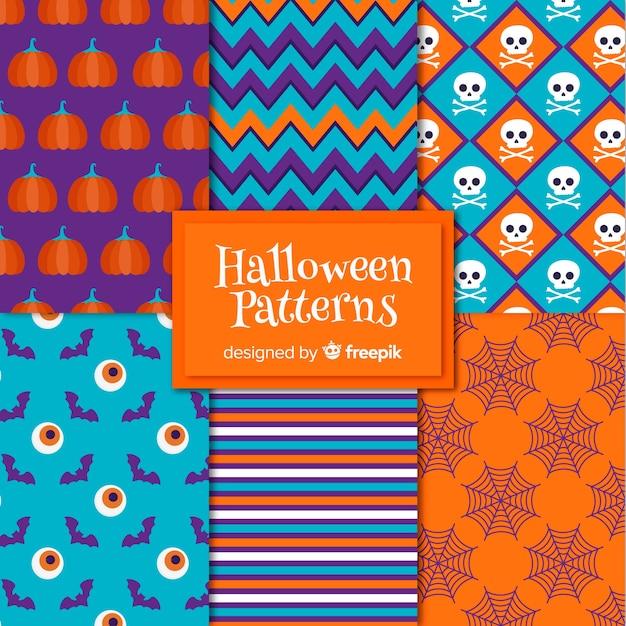 Colección de patrones con elementos de halloween en diseño plano vector gratuito