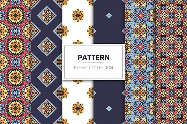 Colección de patrones étnicos ornamentales de lujo vector gratuito