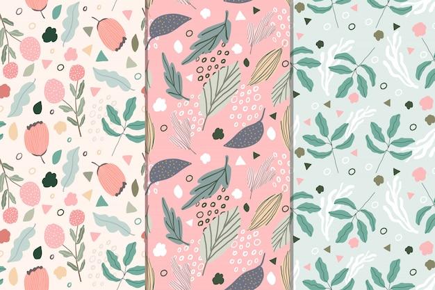 Colección de patrones sin fisuras abstracto floral dulce Vector Premium