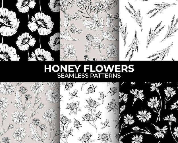 Colección de patrones sin fisuras de flores dibujadas a mano vector gratuito