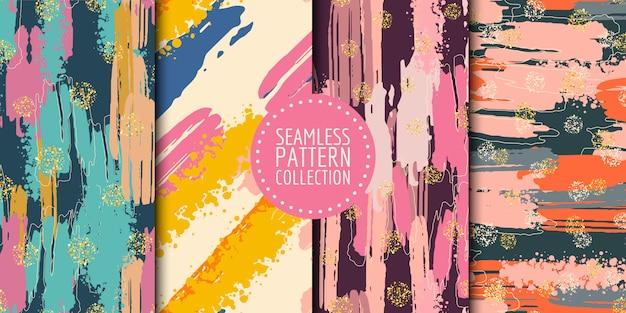 Colección de patrones sin fisuras de formas abstractas Vector Premium