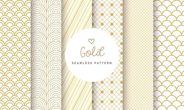 Colección de patrones sin fisuras de lujo. vector gratuito