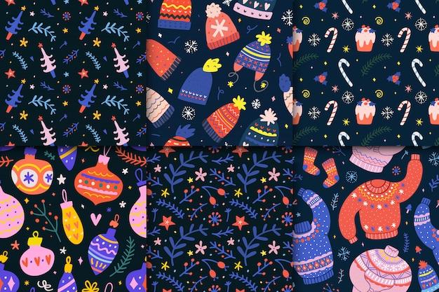 Colección de patrones sin fisuras de navidad Vector Premium