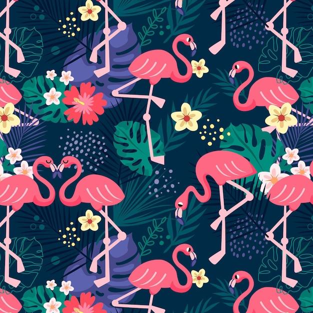 Colección de patrones de flamencos vector gratuito