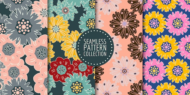 Colección de patrones florales sin costura Vector Premium