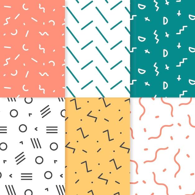 Colección de patrones geométricos dibujados Vector Premium