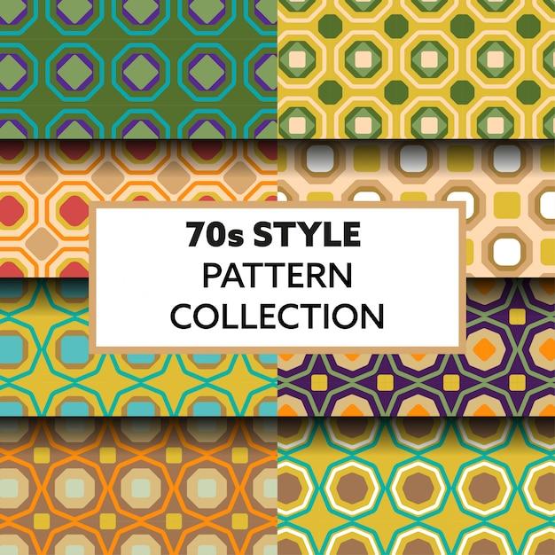 Colección de patrones geométricos estilo años 70. Vector Premium