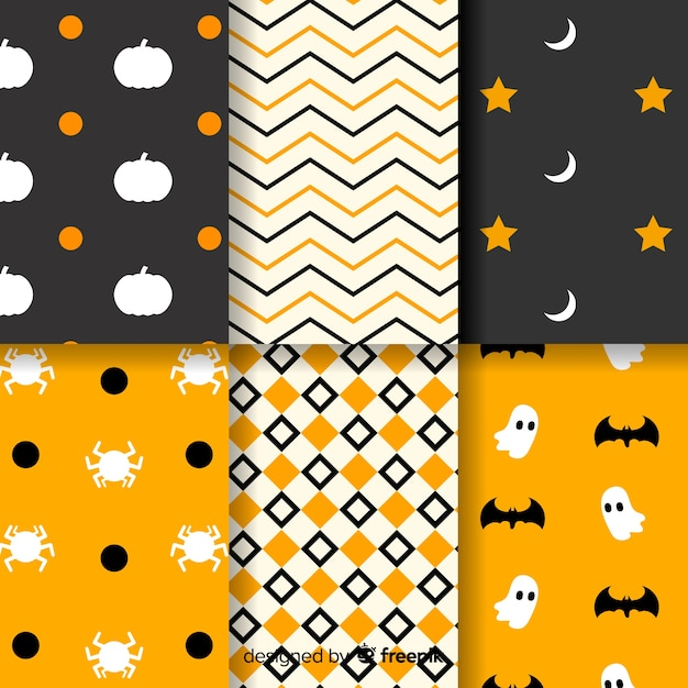 Colección de patrones geométricos de halloween vector gratuito