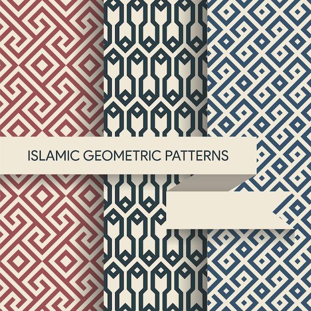 Colección de patrones geométricos islámicos sin costura Vector Premium