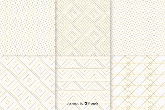 Colección de patrones geométricos de lujo brillante vector gratuito