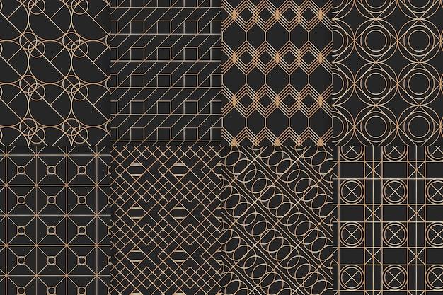 Colección de patrones geométricos de lujo dorado vector gratuito