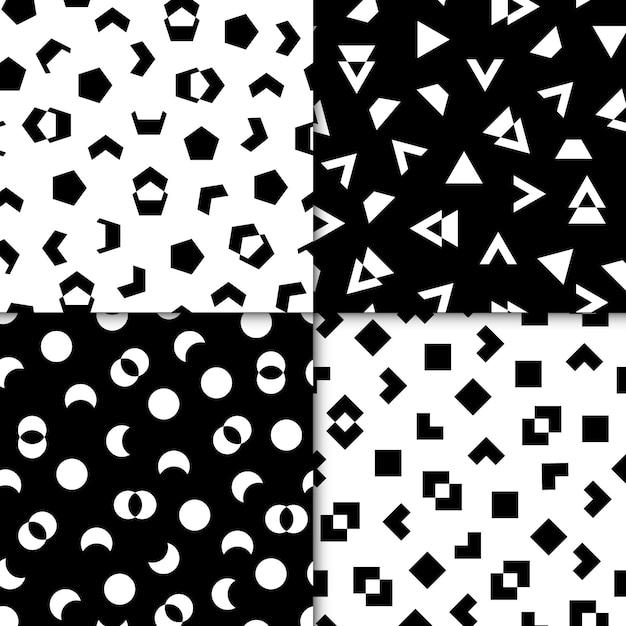 Colección de patrones geométricos mínimos dibujados vector gratuito