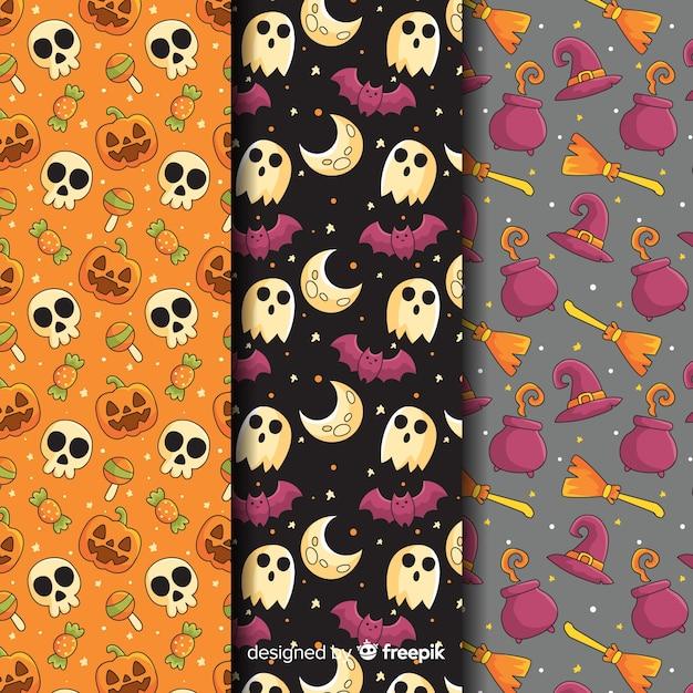 Colección de patrones de halloween con calaveras y fantasmas vector gratuito