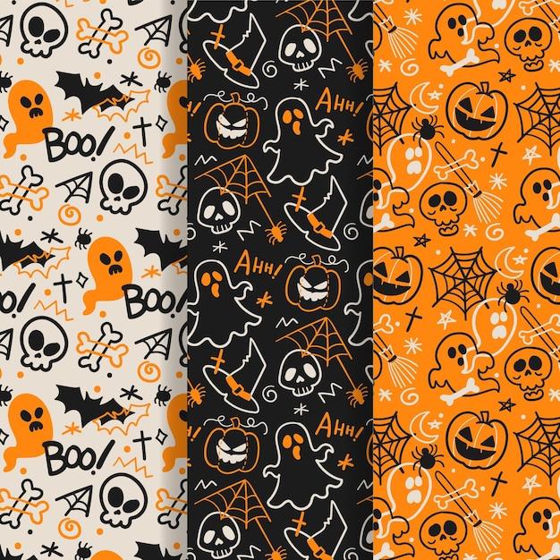 Colección de patrones de halloween dibujados a mano Vector Premium