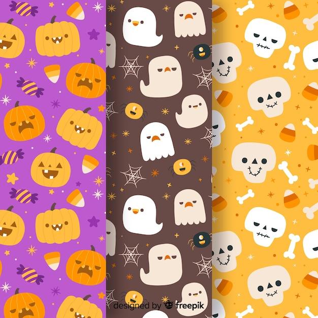 Colección de patrones de halloween dibujados a mano vector gratuito