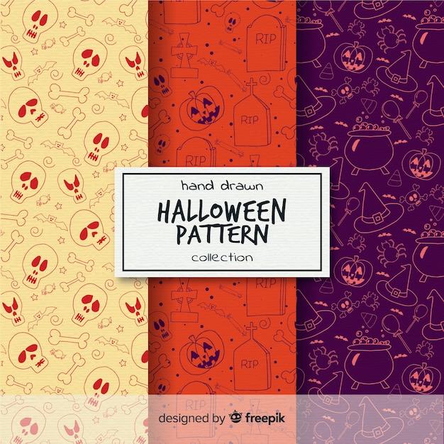 Colección de patrones de halloween pintadas a mano vector gratuito