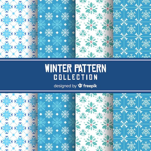 Colección patrones invierno plano vector gratuito