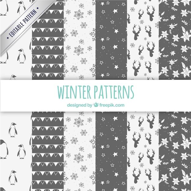 Colección patrones de invierno   Descargar Vectores gratis