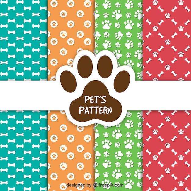 Colección de patrones de mascotas vector gratuito