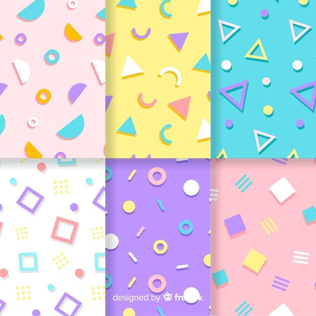 Colección de patrones de memphis con fondos coloridos vector gratuito