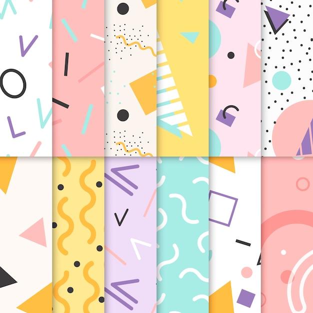 Colección de patrones de memphis vector gratuito