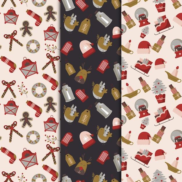 Colección de patrones de navidad de diseño plano vector gratuito