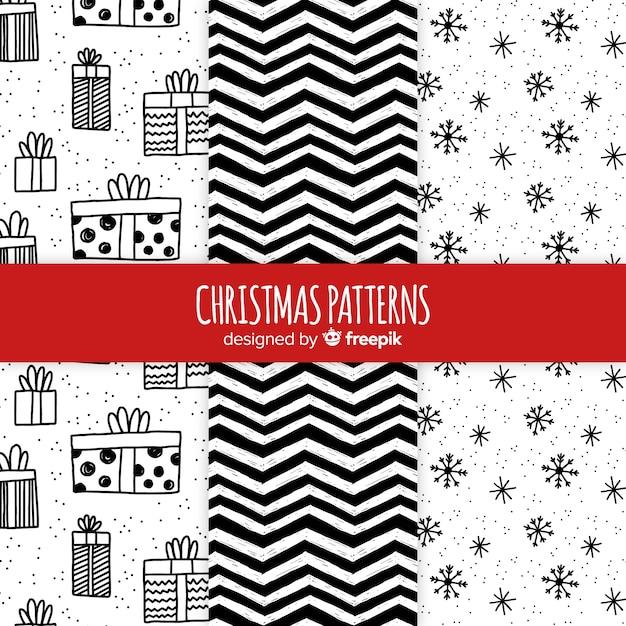 Colección de patrones navideños en blanco y negro dibujados a mano vector gratuito