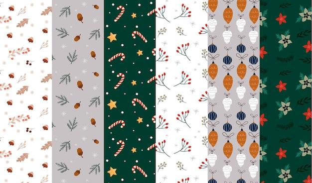Colección patrones navideños dibujados a mano vector gratuito