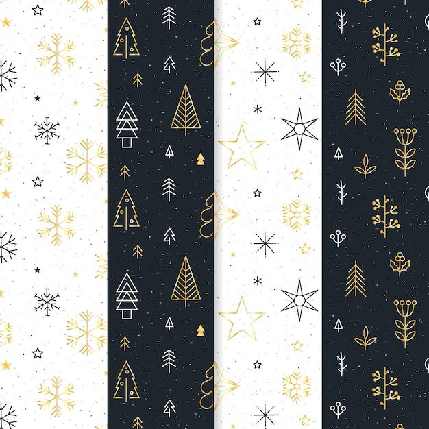 Colección de patrones navideños negros y dorados vector gratuito
