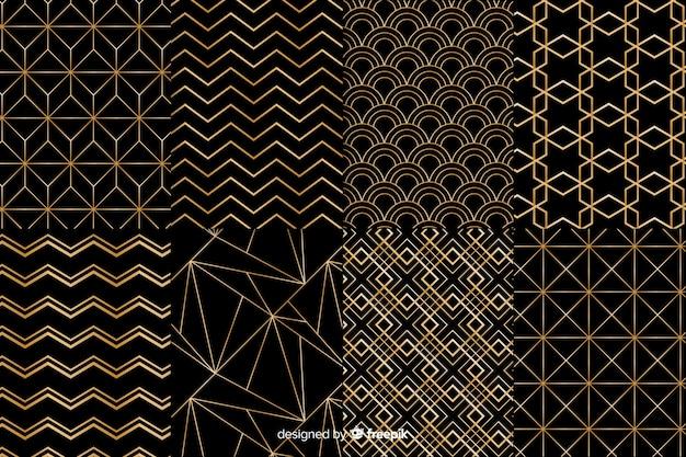 Colección de patrones negros y dorados Vector Premium