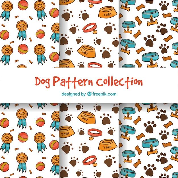 Colección de patrones de perros graciosos | Descargar Vectores gratis