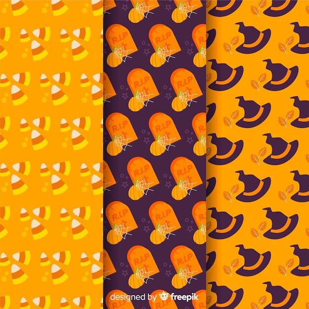 Colección de patrones planos con accesorios de halloween vector gratuito
