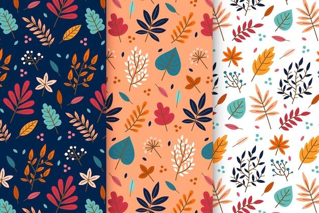 Colección de patrones planos de otoño Vector Premium