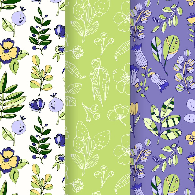 Colección de patrones de primavera dibujados a mano vector gratuito