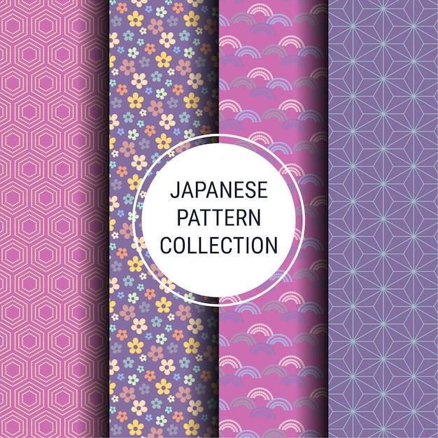 Colección de patrones de primavera japoneses Vector Premium